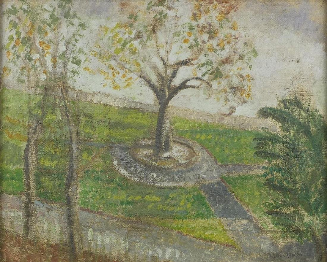 After John Nash - Trees in a field, oil on canvas, framed, 41cm x 33cm