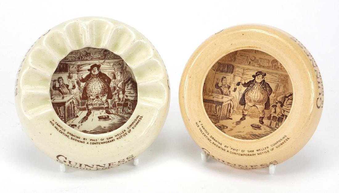 Two Guinness advertising porcelain ashtrays, one by Ashtead and one by Wiltshaw & Robinson