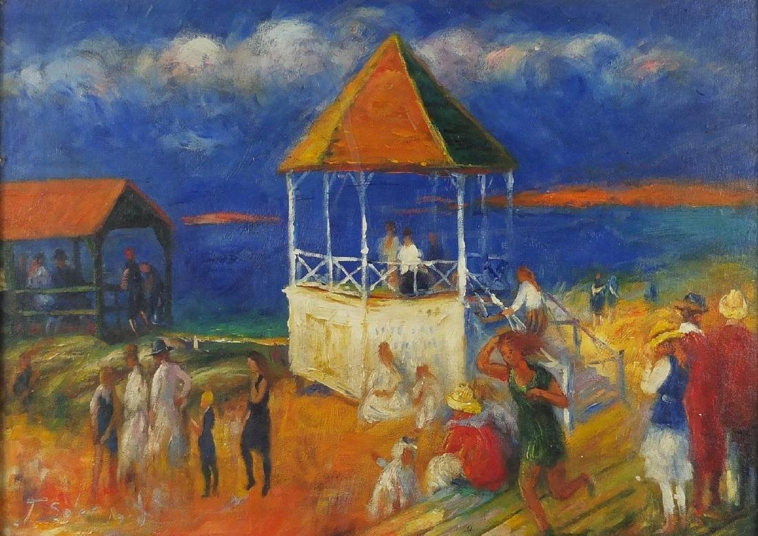 Figures on the beach, impressionist oil on board, bearing a signature Soler and inscriptions