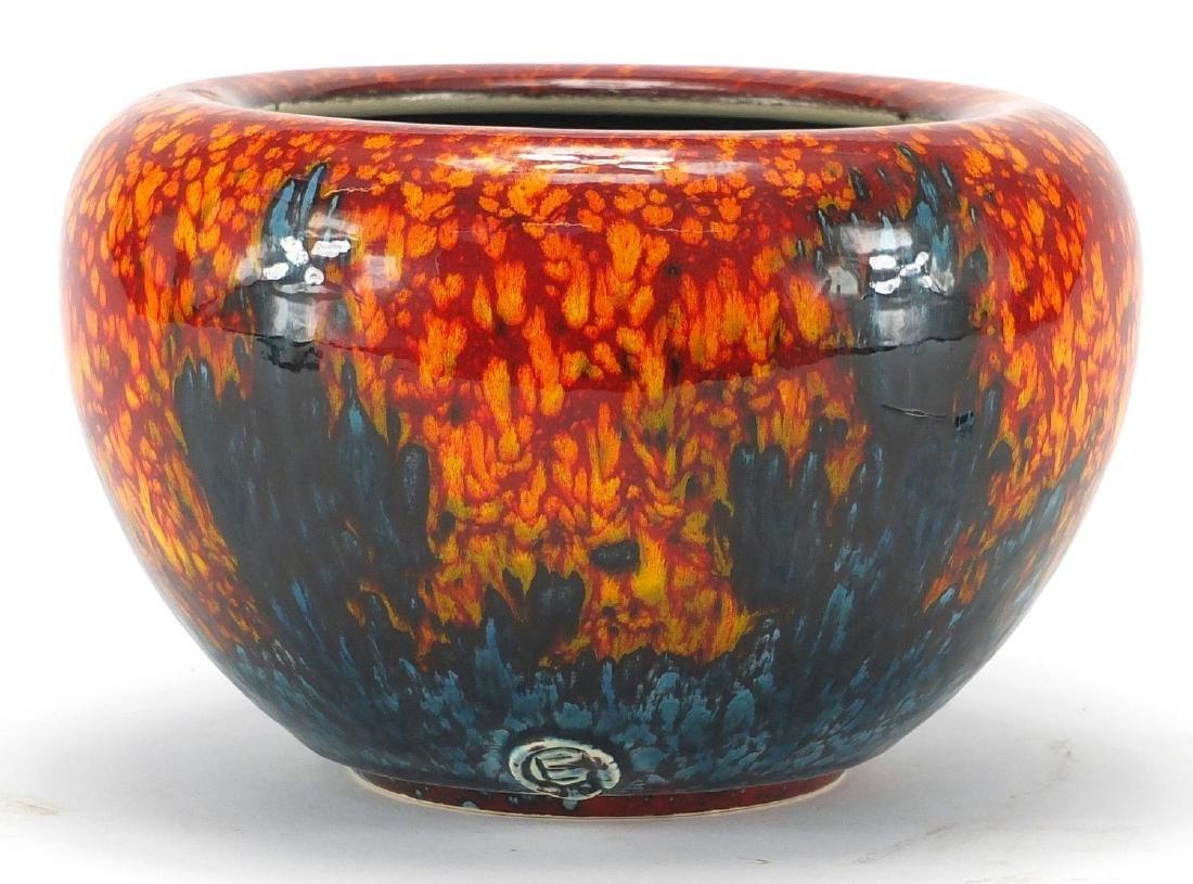 Poole studio pottery bowl impressed initials around the foot rim, 20cm in diamter