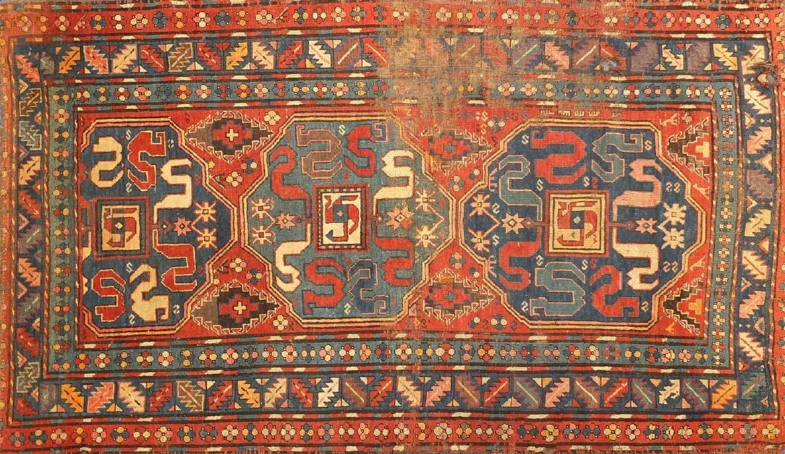 Rectanglar Caucasian Chondzoresk Karabagh rug with cloud band design, 240cm x 140cm