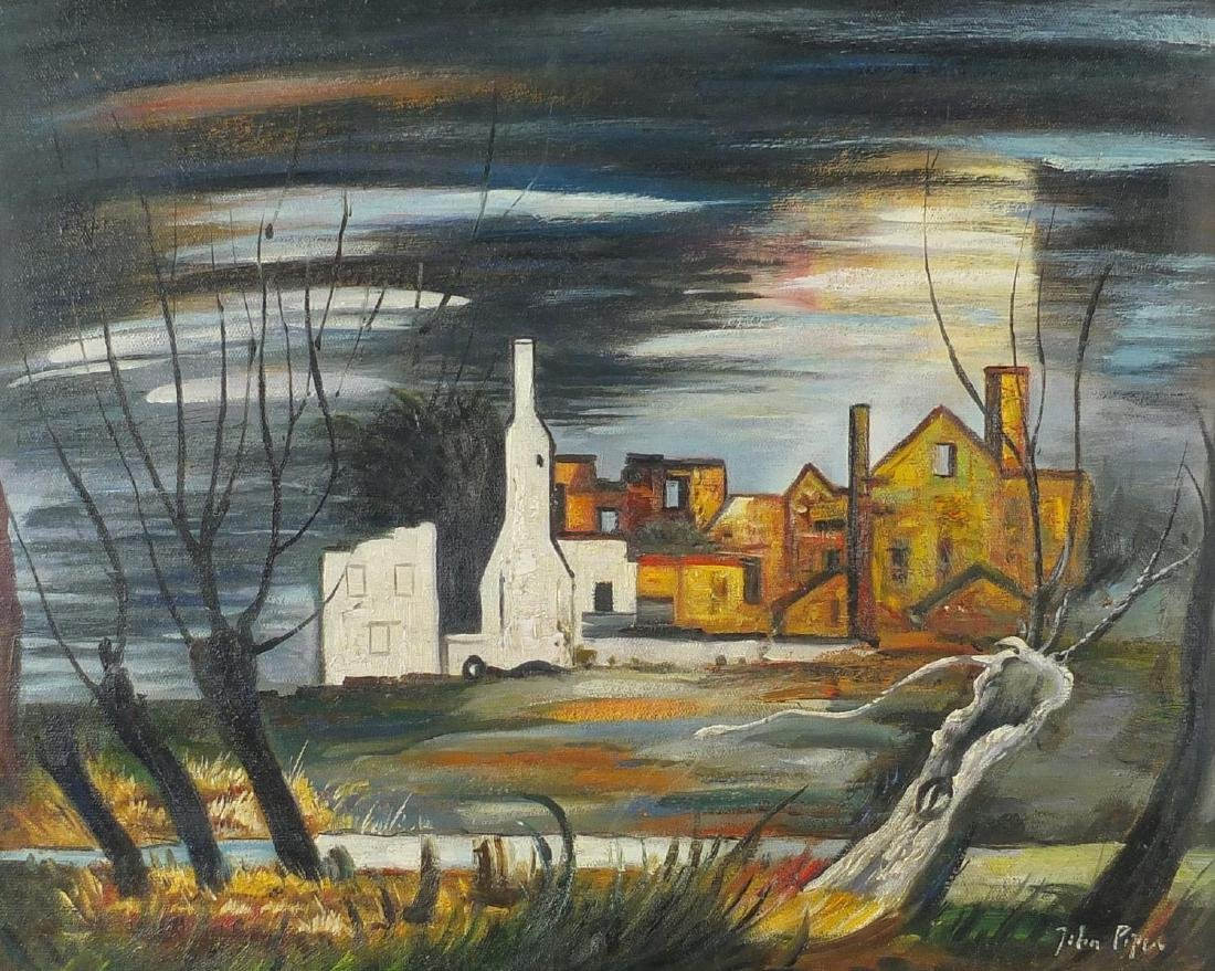 Surreal landscape with buildings, oil on board, bearing a signature John Piper, framed, 50.5cm x