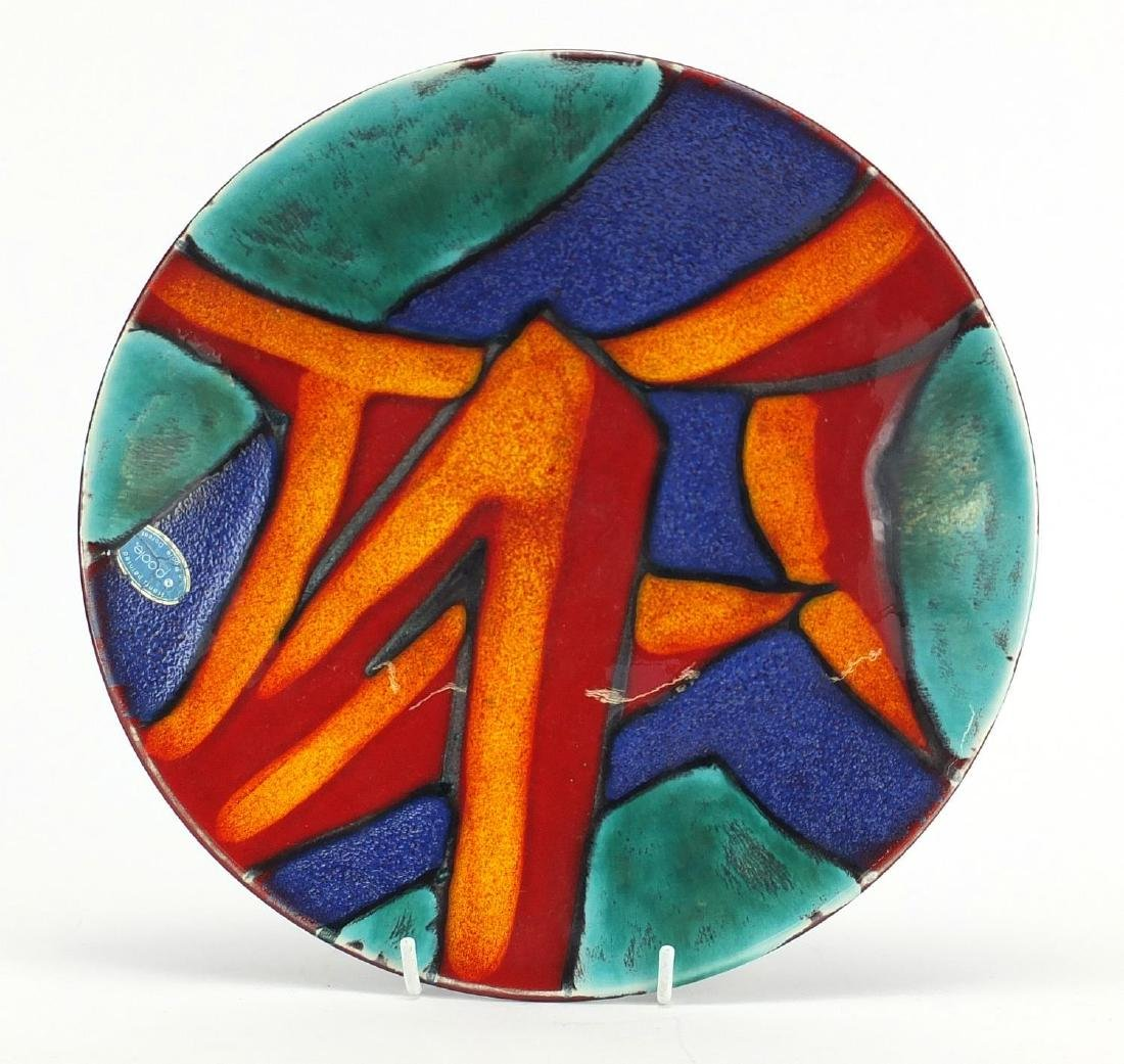 Poole pottery graffiti dish, with paper label, 26.5cm in diameter