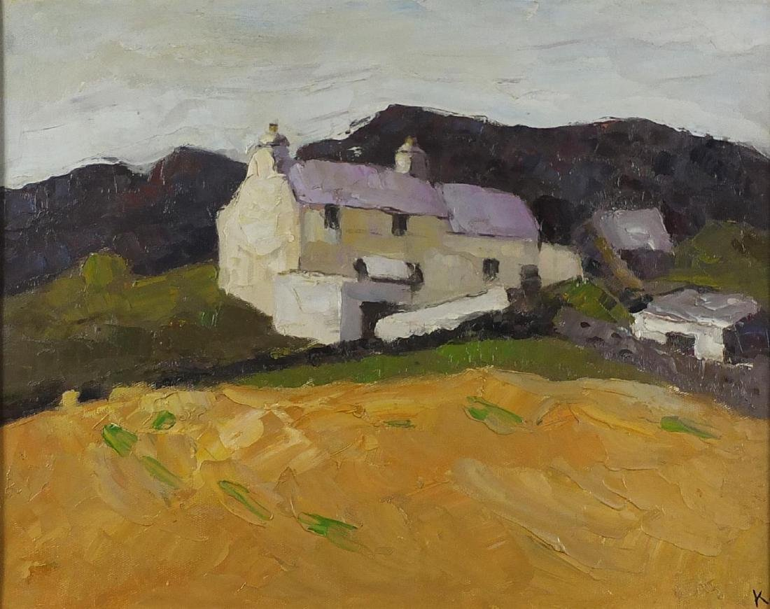 Welsh Valleys with buildings, oil canvas laid on board, bearing a monogram K and inscription