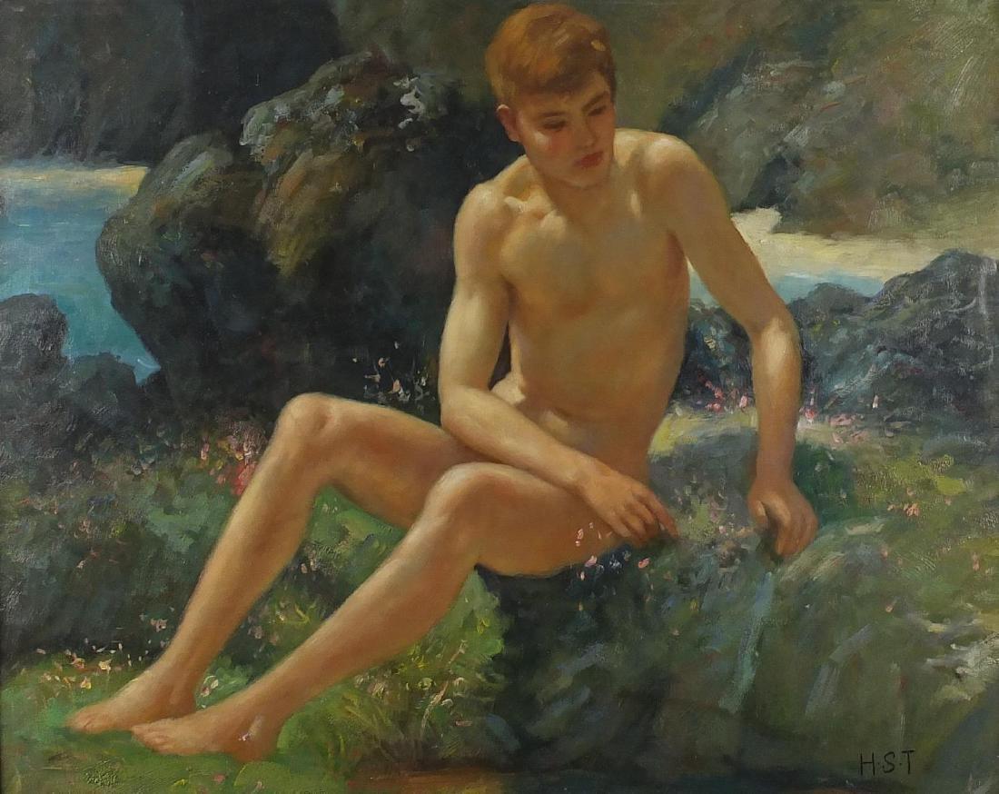 Manner of Henry Scott Tuke - Nude boy by the coast, oil on board, framed, 87cm x 69cm