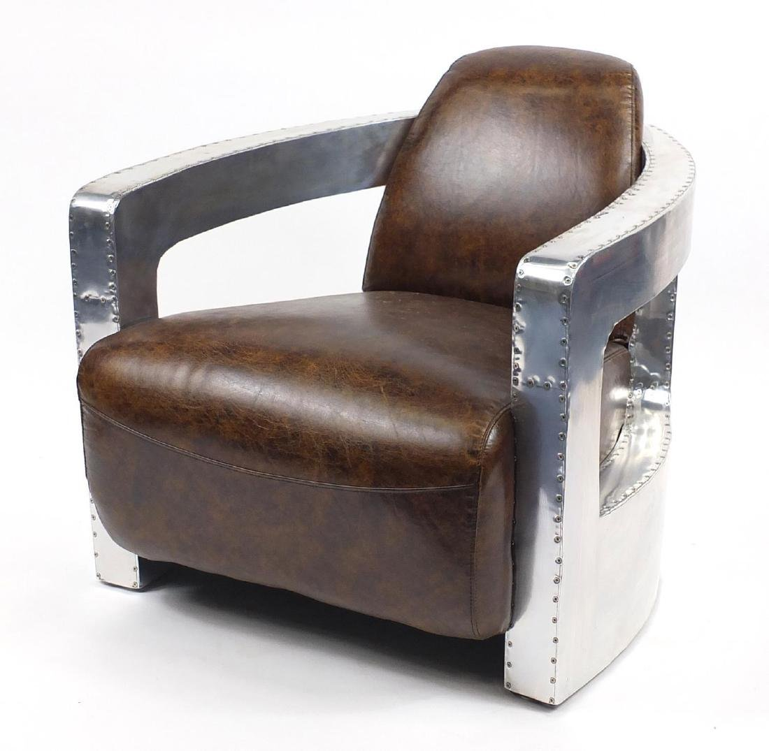 Aviation club chair with brown leather upholstery, 77cm high