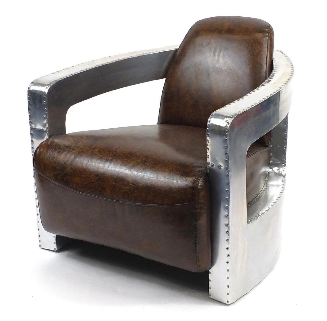 Aviation club chair with brown leather upholstery, 77cm high (OPTION)