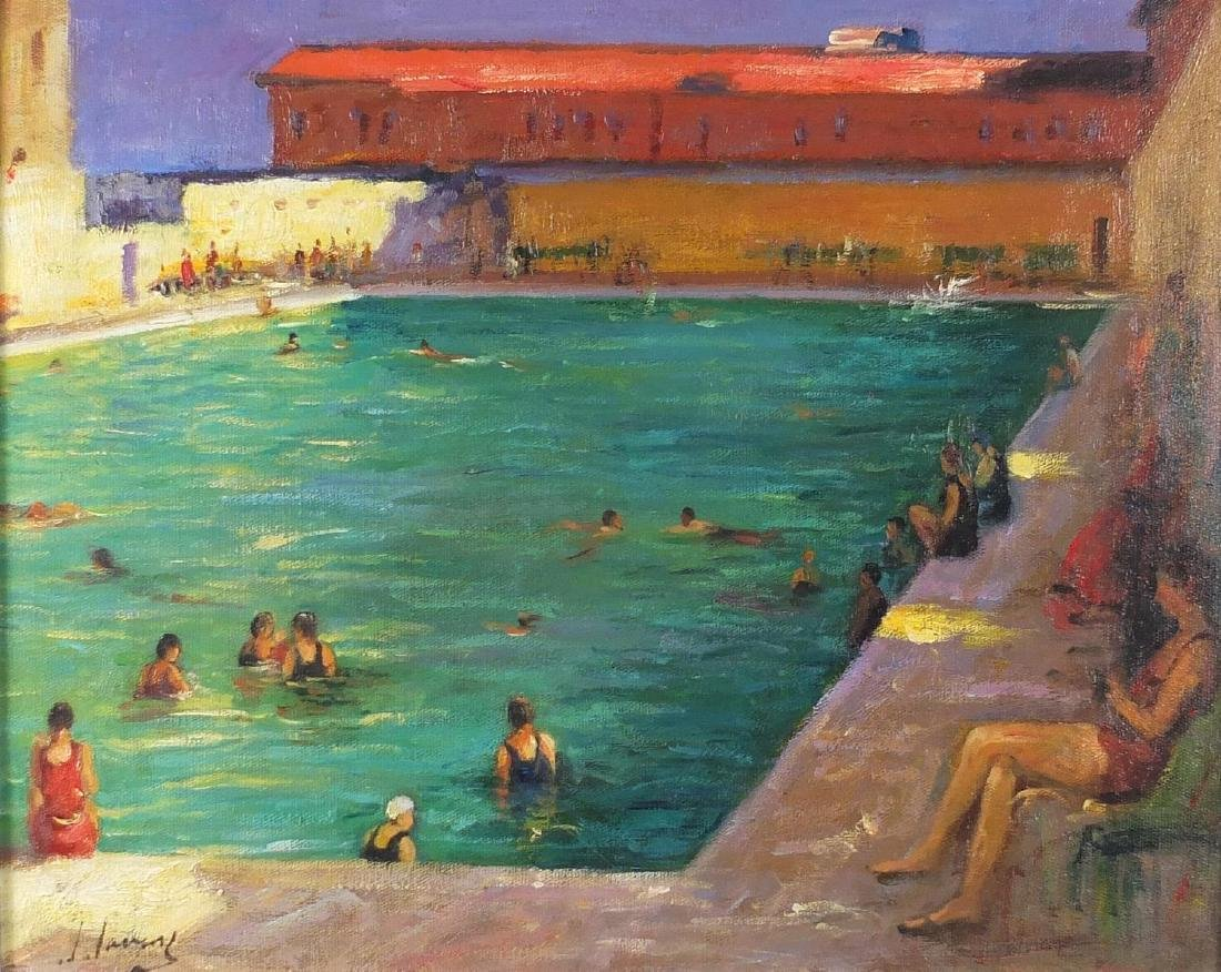 After Sir John Lavery - Figures bathing at the pool, oil on board, inscribed verso, mounted and
