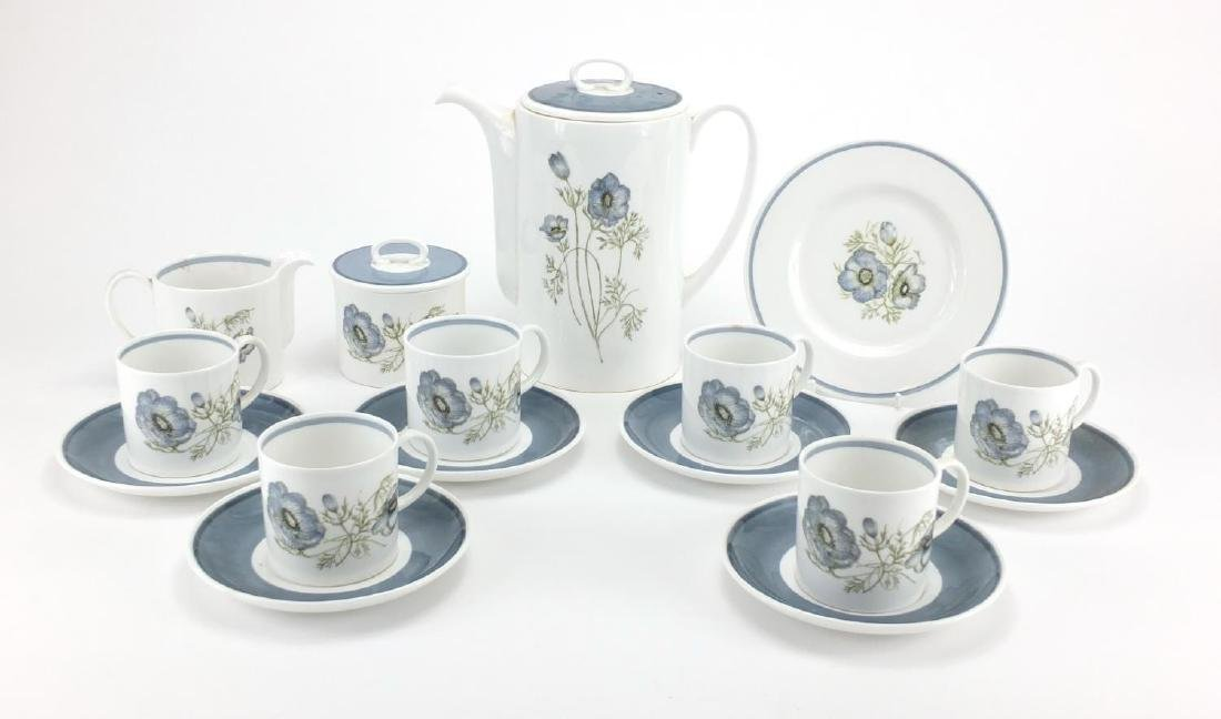 Susie Cooper Glen Mist six place coffee service, with coffee pot, 21cm high