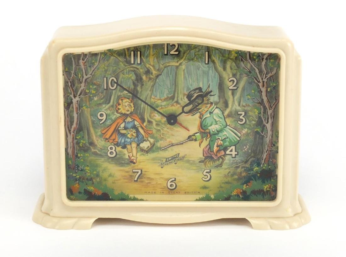 Vintage Smiths Children's Who's Afraid of the Big Bad Wolf musical mantel alarm clock, 14cm high :