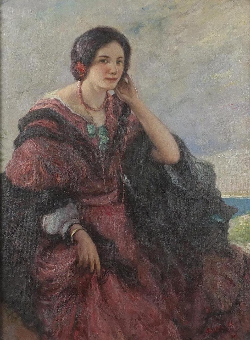 Female before the coast, Italian school oil on board, inscribed verso, framed, 43cm x 32cm