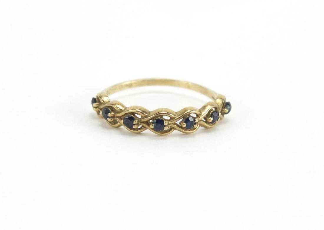9ct gold sapphire half eternity ring, size P, approximate weight 1.6g