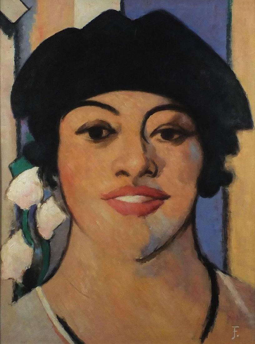 After John Duncan Fergusson - Portrait of a female, oil on board, inscribed verso, framed, 100cm x