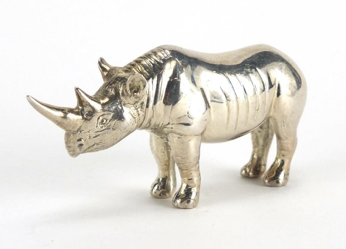 Silver model of a rhino, stamped 925, 9cm in length, approximate weight 226.4g