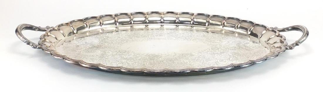 Oval silver plated tray with twin handles by Barker Ellis, engraved with flowers, 68cm wide