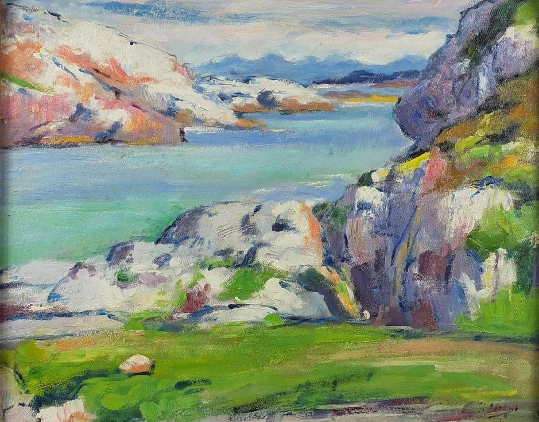 Iona landscape, Scottish colourist school oil on board, bearing an indistinct signature and