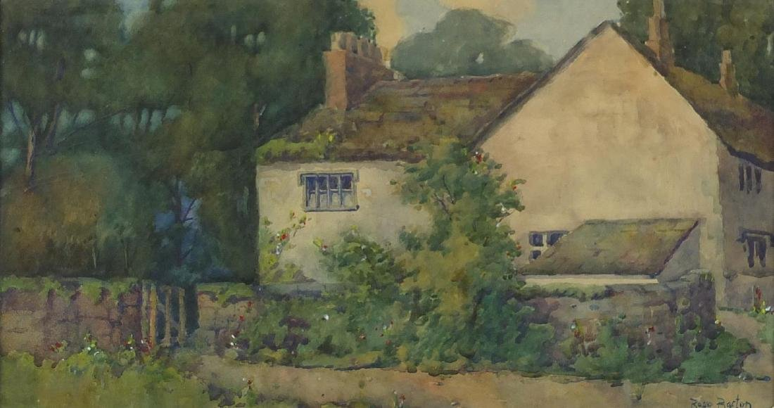 Cottage with trees, watercolour, bearing a signature Rose Barton, framed, 43.5cm x 23cm