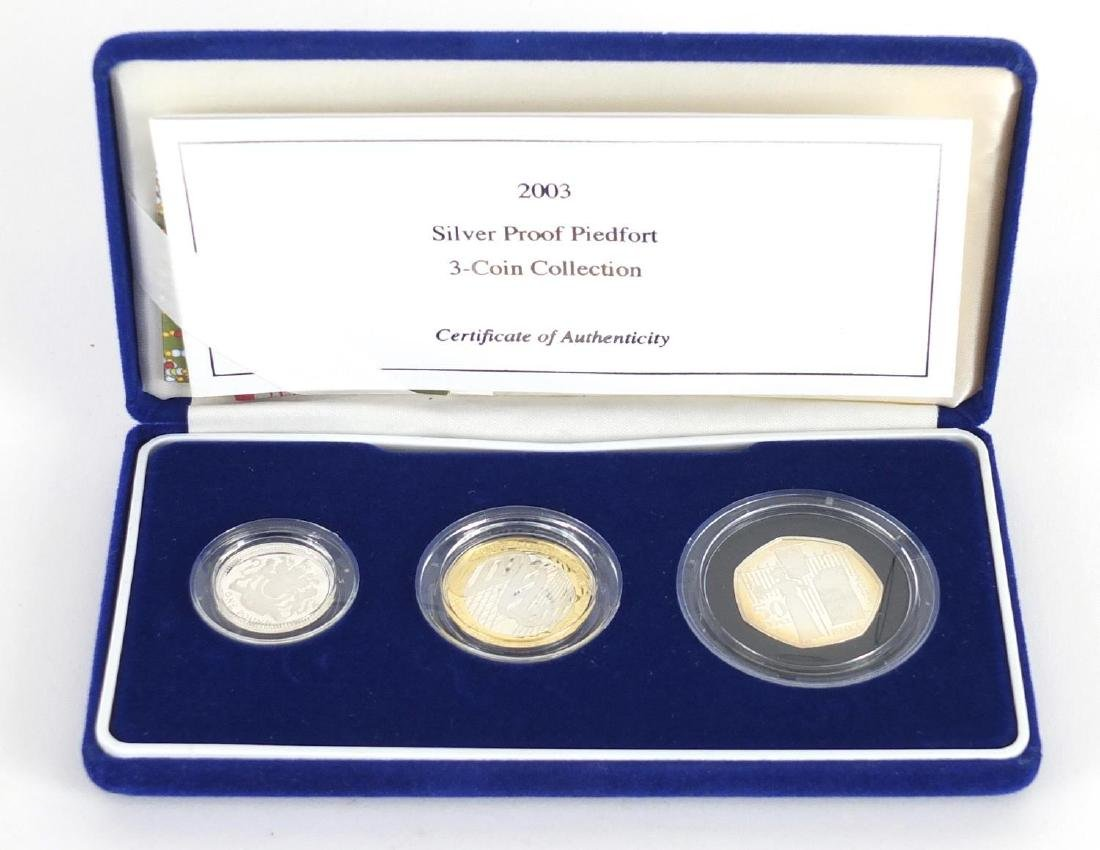 2003 United Kingdon silver proof Piedfort three coin collection
