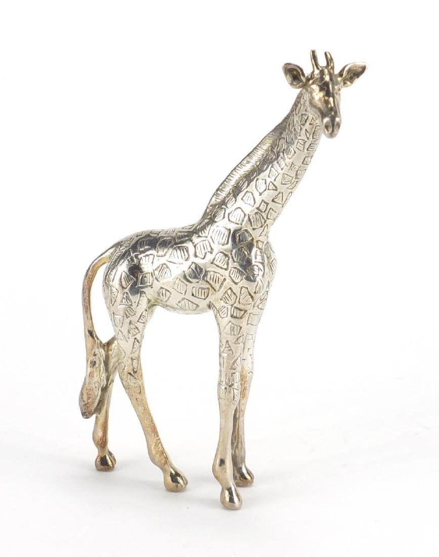 Silver model of a giraffe, stamped 925, 11.5cm high, approximate weight 176.5g