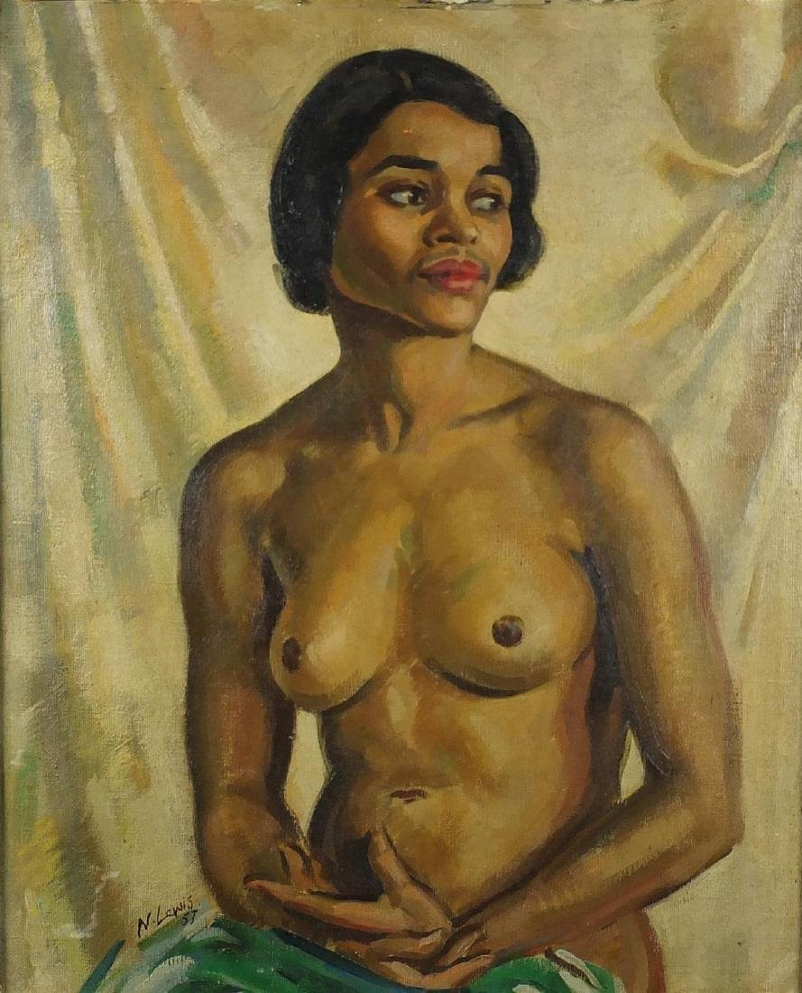 Portrait of a seated nude female, South African School oil onto board, bearing a signature N.