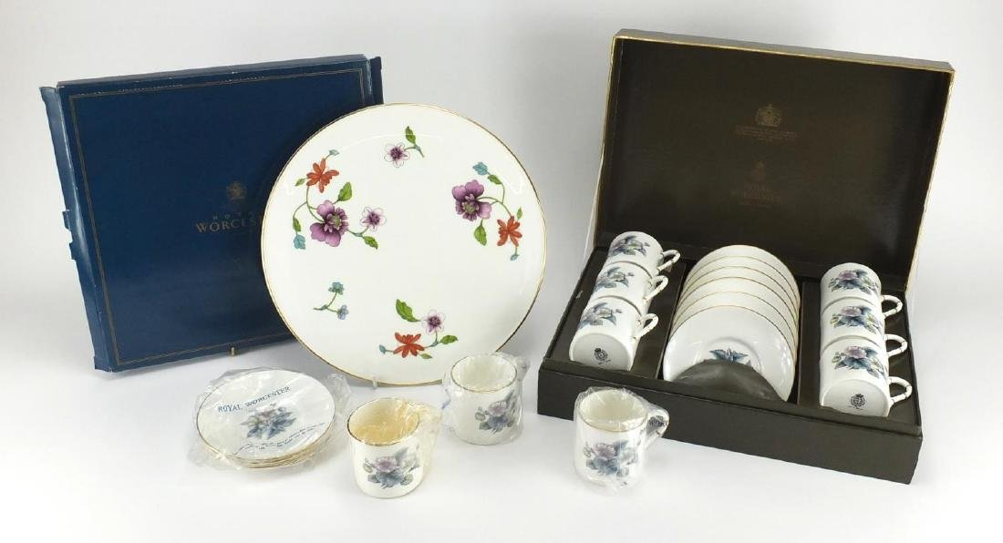 Royal Worcester teaware including set of six coffee cans and saucers and Astley cake stand, both