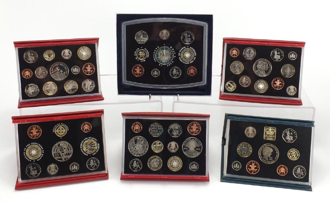 Six Royal Mint United Kingdom proof coin sets, 1999, 2000, 2001, 2005, 2006 and 2007
