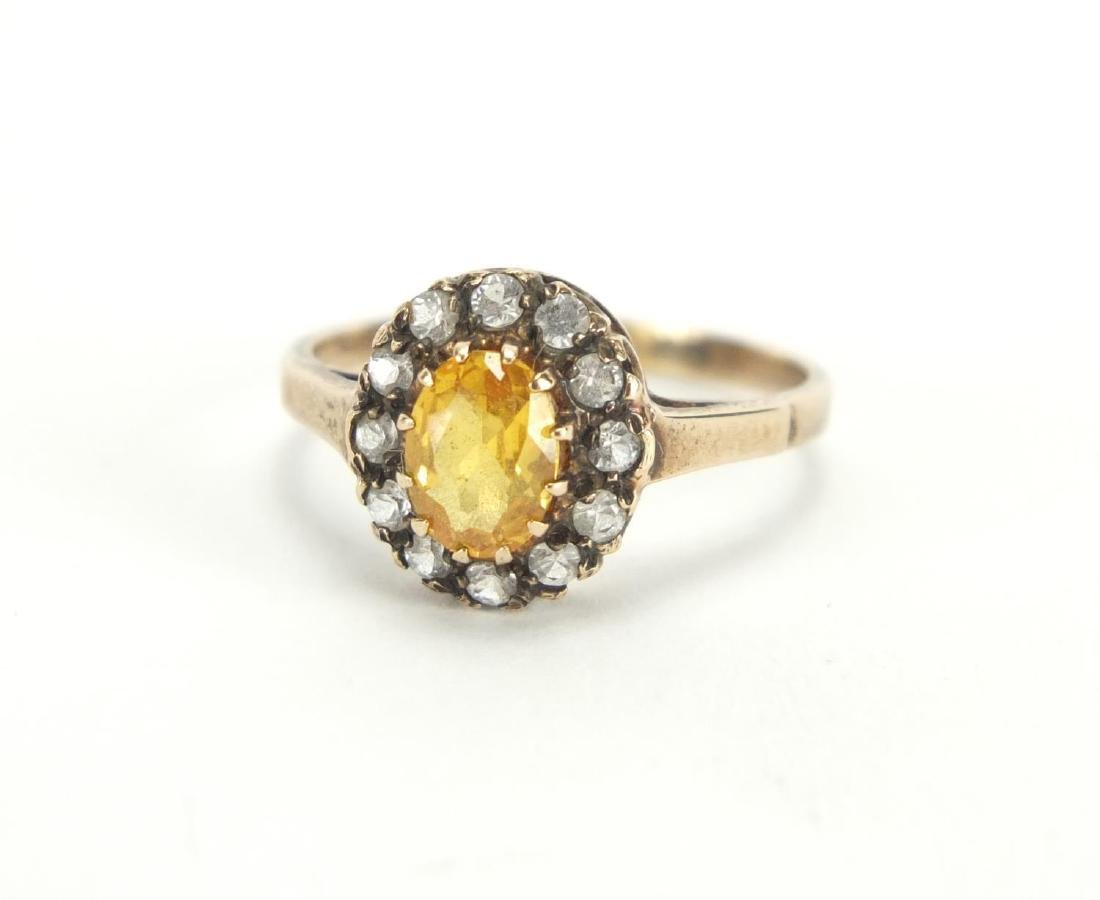 9ct gold citrine and clear stone ring, size P, approximate weight 2.5g
