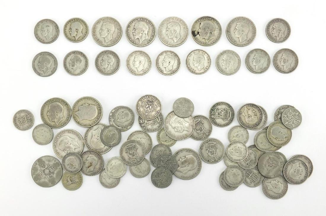 British pre decimal pre 1947 coins including Florin's and six pence's, approximate weight 370.0g :