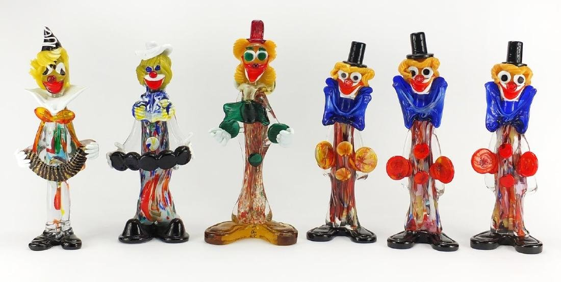 Six large Murano colourful glass clown musicians, the largest 36.5cm high