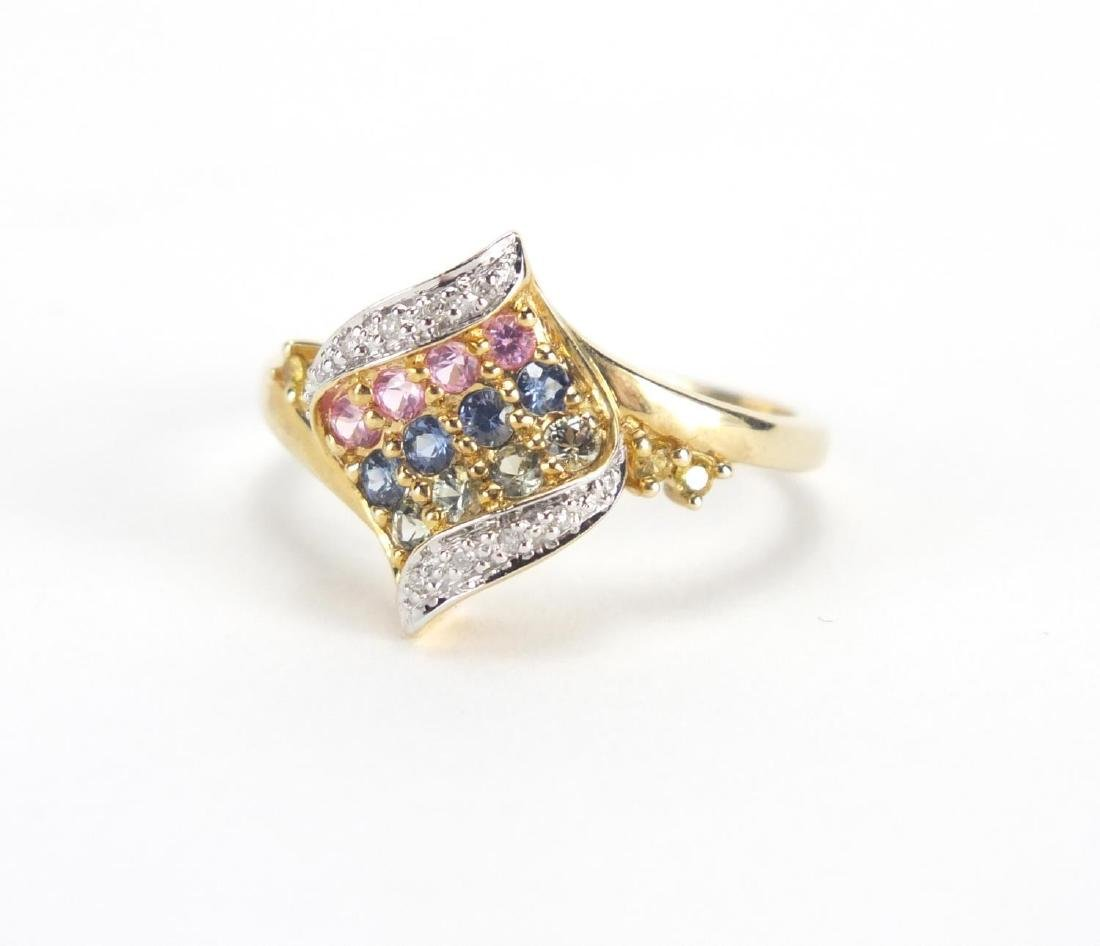 9ct gold diamond and colourful stone dress ring, size Q, approximate weight 3.2g