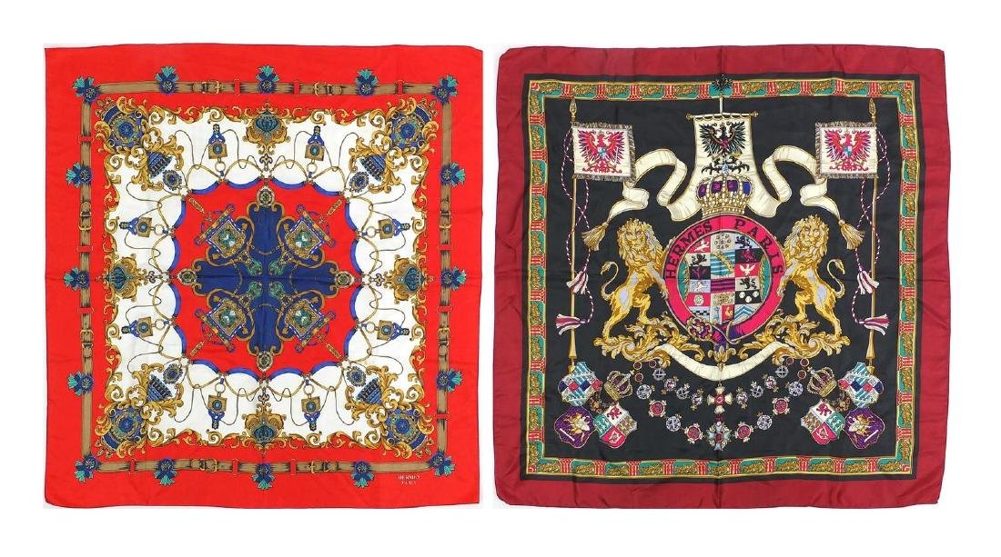 Two Hermes silk scarves one with a coat of arms design and box