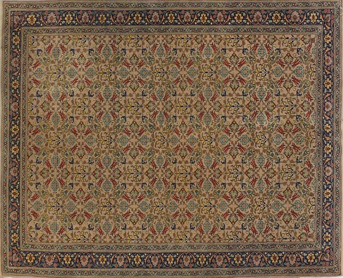 Rectangular Indian rug having and repeat flower head and vine design, approximately 290cm x