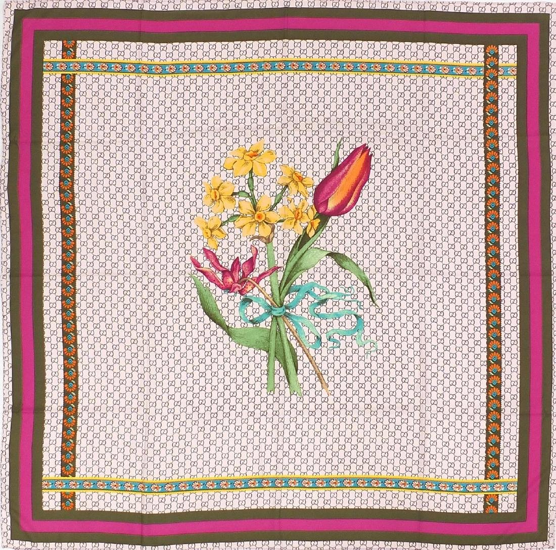Gucci monogram silk scarf with bunch of flower design and box
