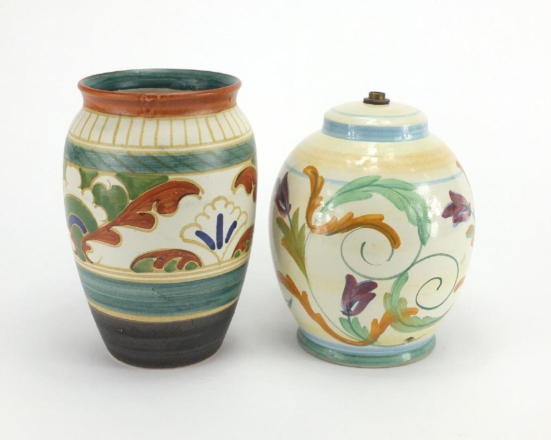Honiton Art pottery lamp base and vase, both hand painted with stylised flowers, the largest 21cm