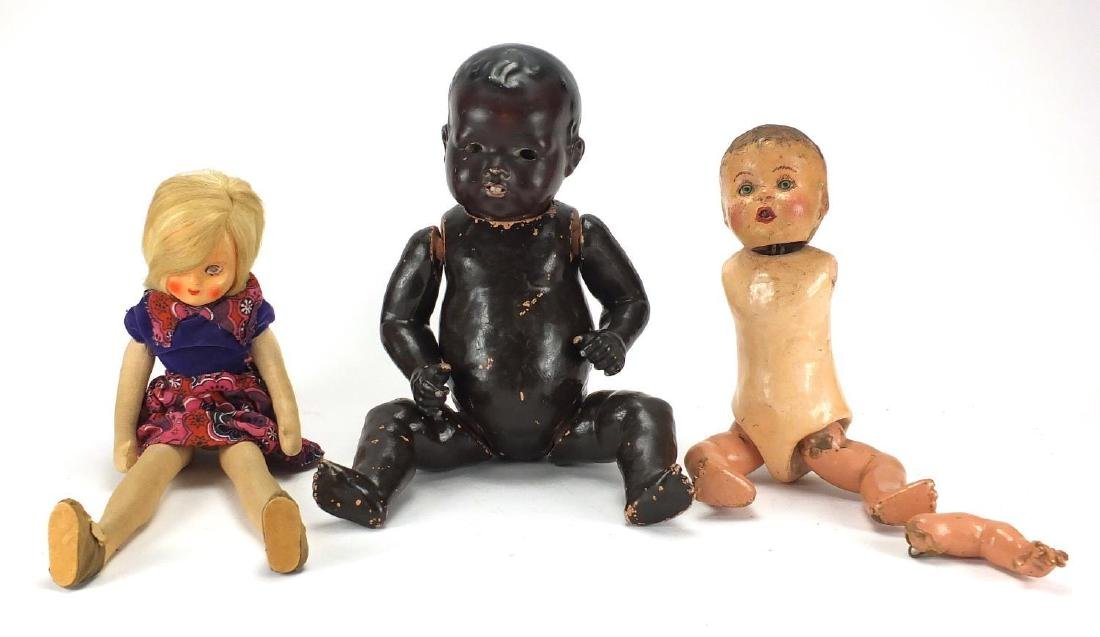 Three vintage dolls including a black bisque headed, stamped Made in Japan, Lenci style and one