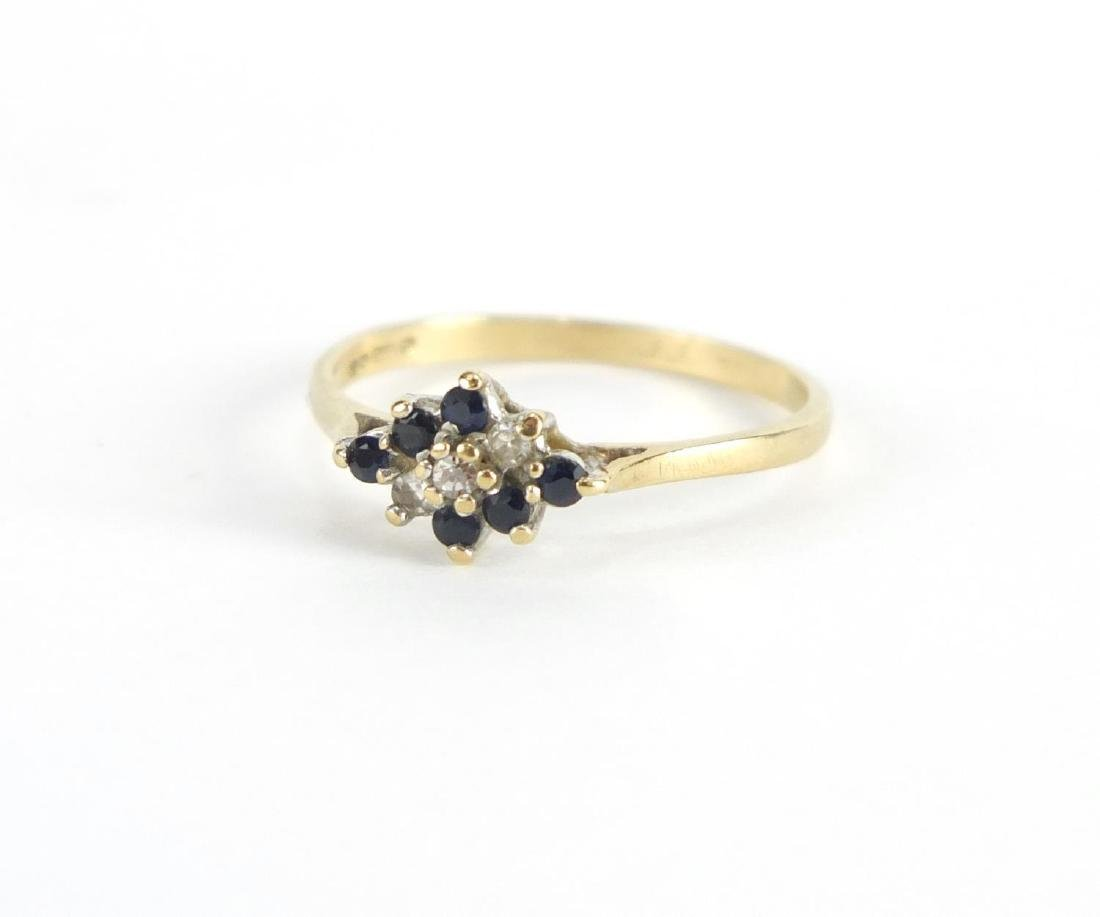 9ct gold diamond and sapphire ring, size P, approximate weight 1.6g