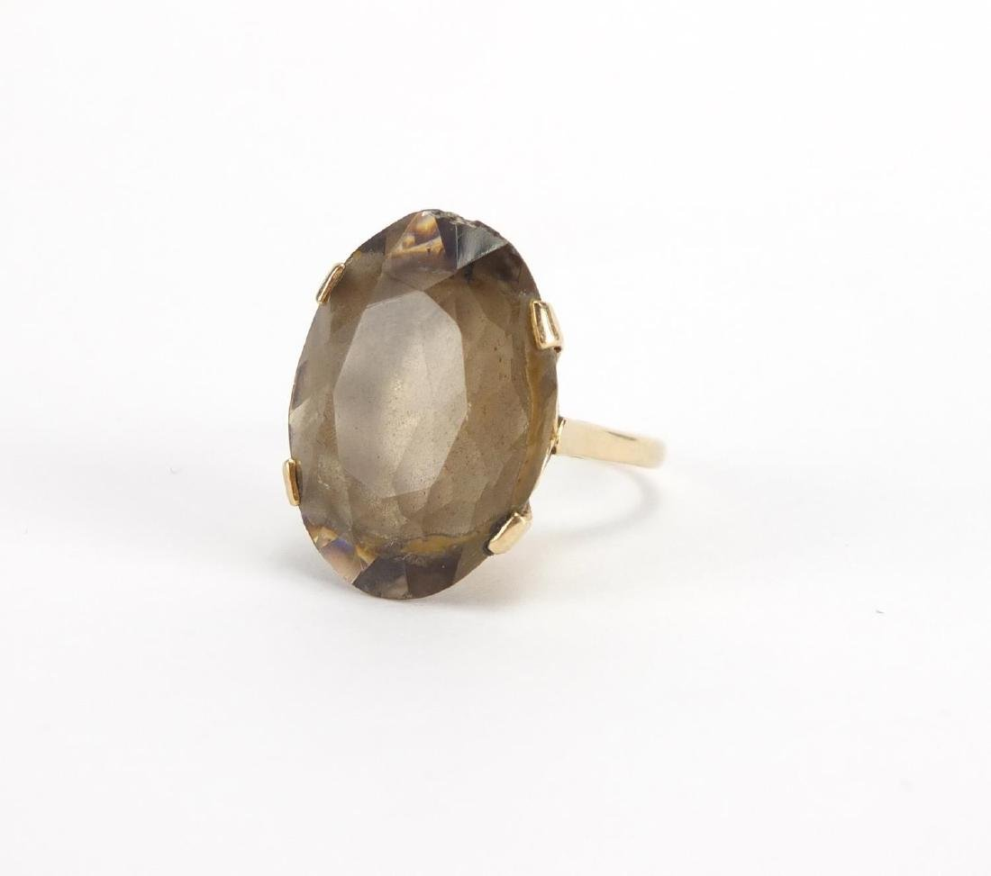 Large 9ct gold smoky quartz ring, size P, approximate weight 9.0g