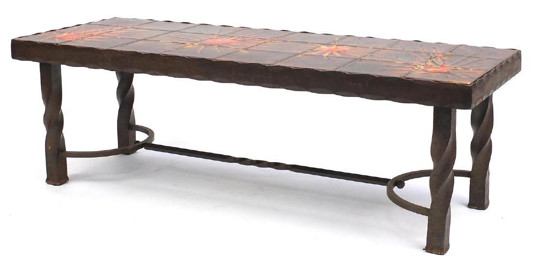 retro Iron tile top coffee table by La Roue Vallauris, 40cm H x 123cm W x 47cm D