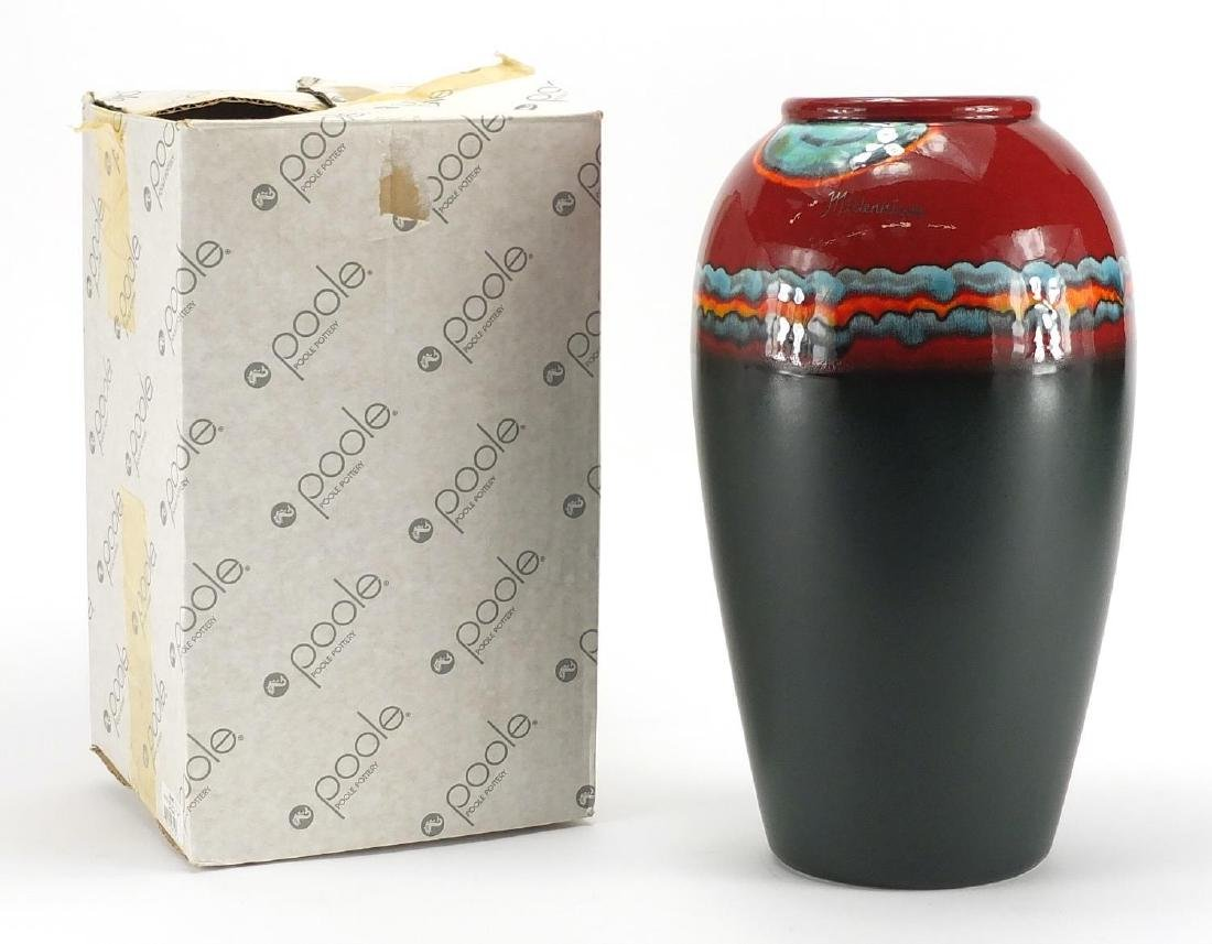 Large Poole pottery limited edition Millennium vase, numbered 792 with box, 33cm high