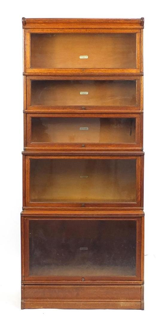 Globe Wernicke oak five section bookcase, 205cm H x 87cm W x 48cm D