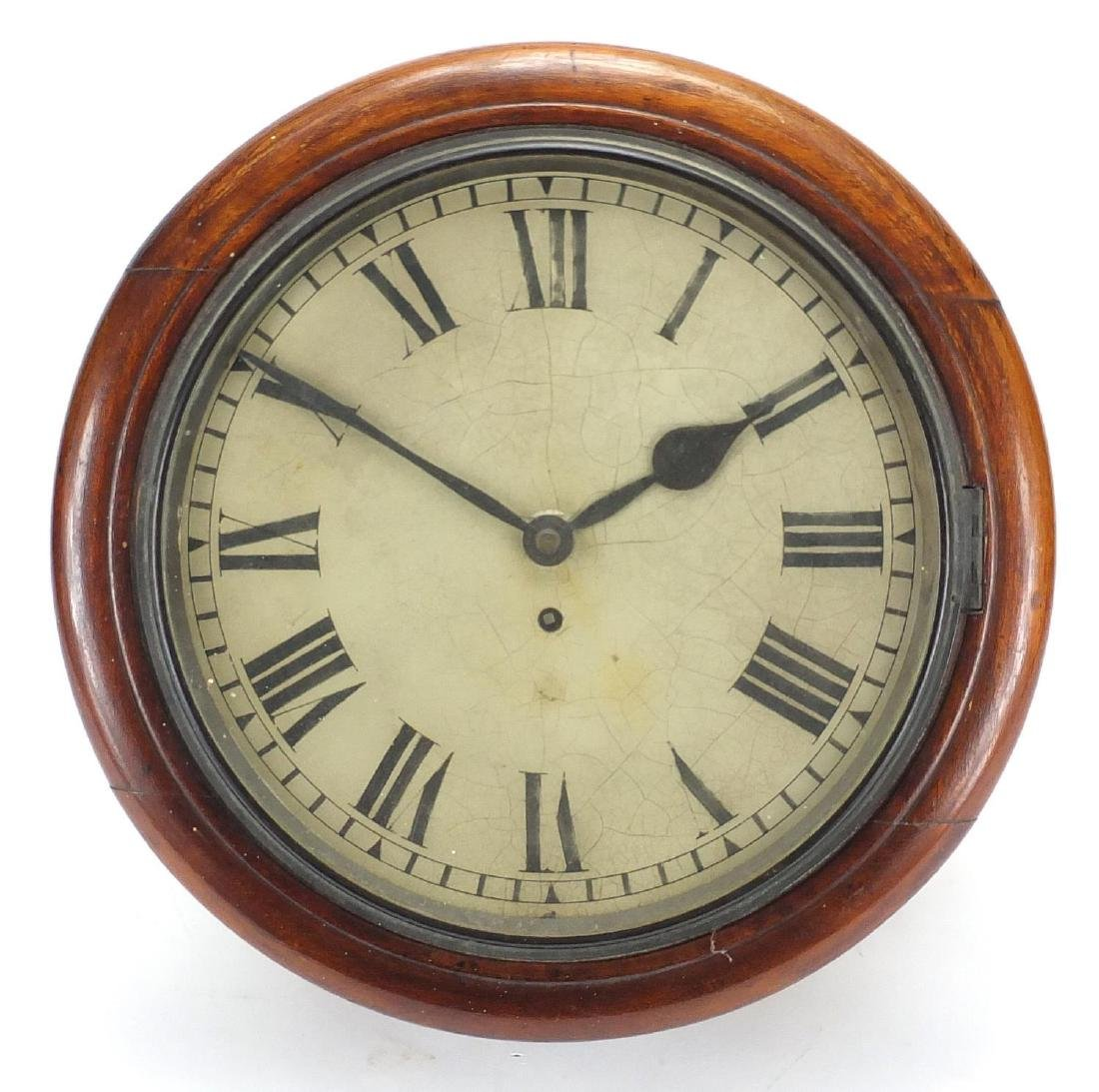 Victorian mahogany fusee wall clock with Roman numerals, 39cm in diameter