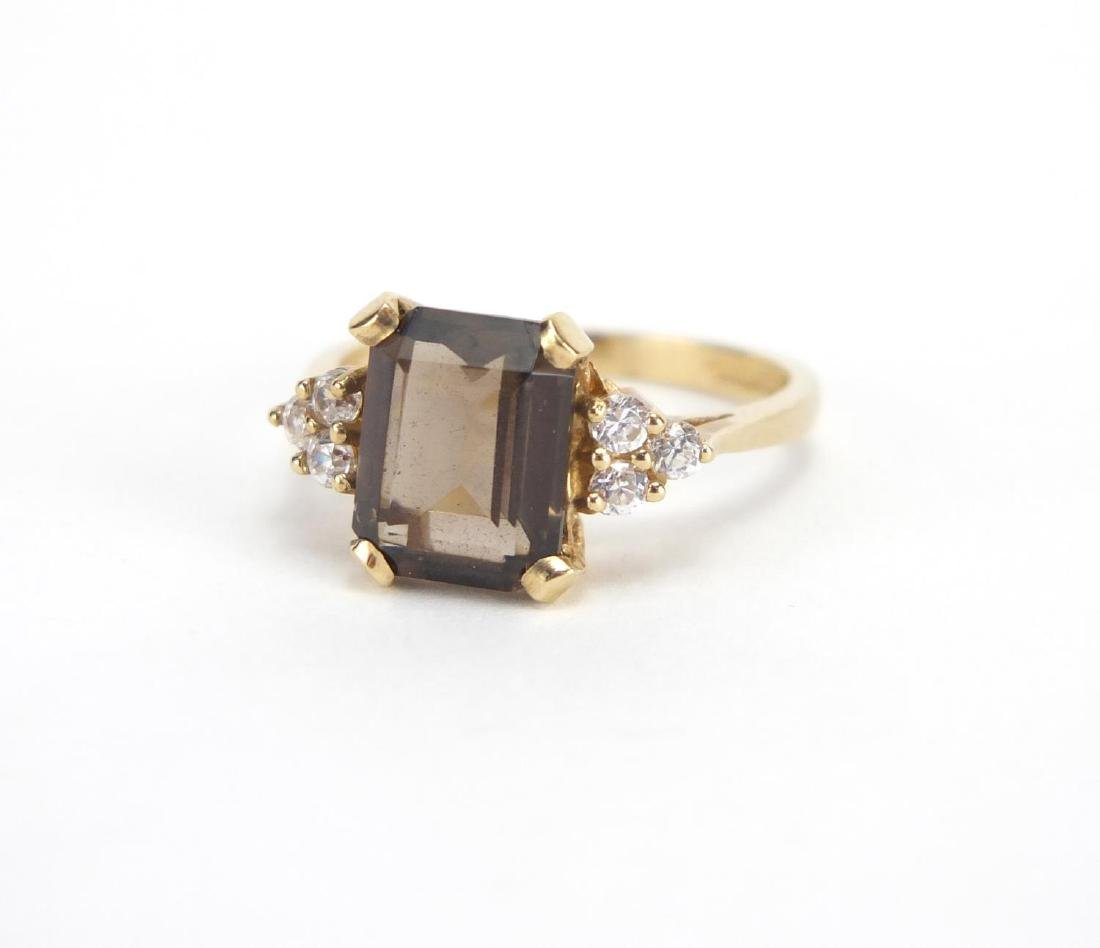 9ct gold smoky quartz and cubic zirconia ring, size N, approximate weight 3.0g