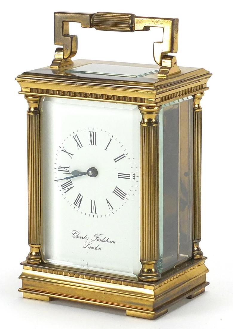 Charles Frodsham of London brass cased carriage clock with architectural columns, bevelled glass and