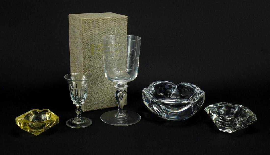 Art glassware together with a 19th century jelly glass, including Whitefriars Commemorative goblet