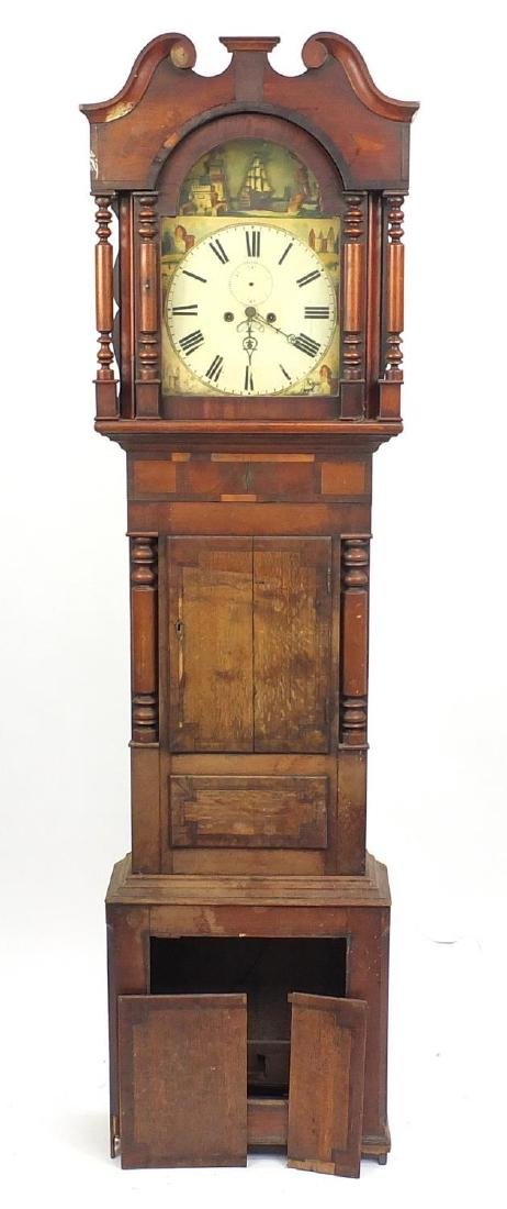 Victorian oak and mahogany longcase clock, with enamelled dial, hand painted with a castle and