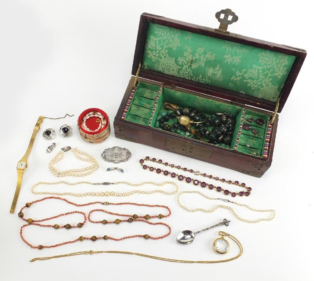Vintage and later costume jewellery including a silver Marcasite brooch, necklaces and ladies