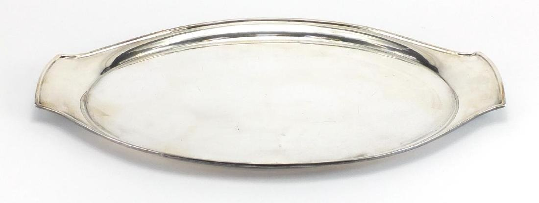 Modernist Mappin & Webb silver plated tray designed by Eric Clements, 45.5cm wide