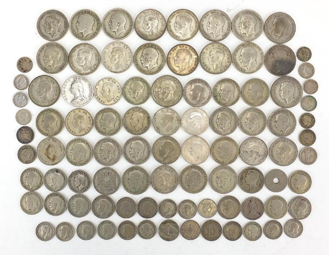 19th century and later mostly British coinage including half crowns and florins, approximate