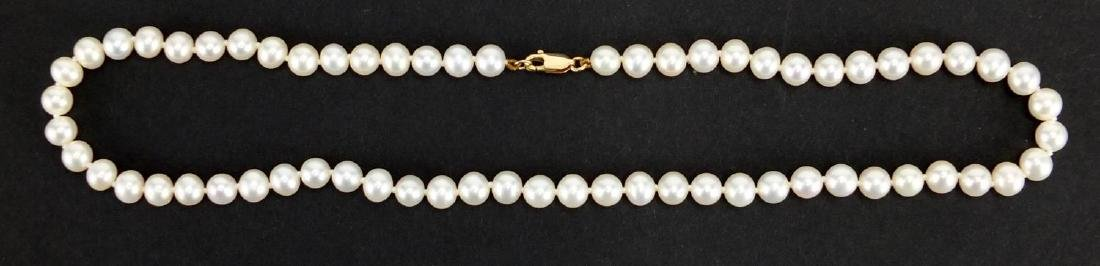 Single string pearl necklace with 9ct gold clasp, 40cm in length, approximate weight 23.0g