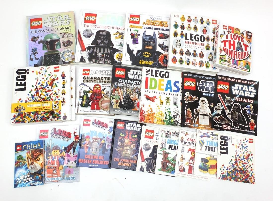 Collection of Lego books including Visual Dictionaries with figures
